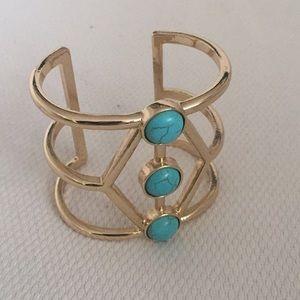 Gold + Turquoise Cuff Bracelet